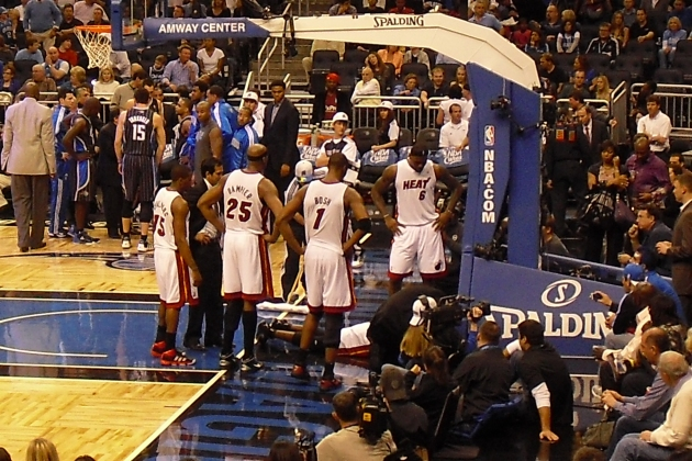 Heat concerned for D-Wade after he falls down hard. View from my seat.