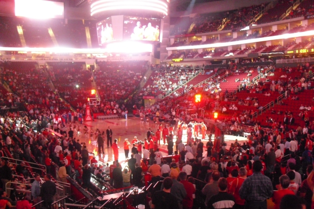 The red theme was in full effect. View from my seat.