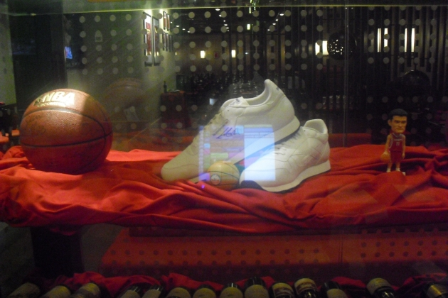 Yao Ming's shoes at Yao Chinese restaurant (no relation, oddly).