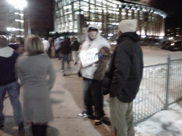 "Scalpers in Denver come equip with signs saying ""I need tickets!"""