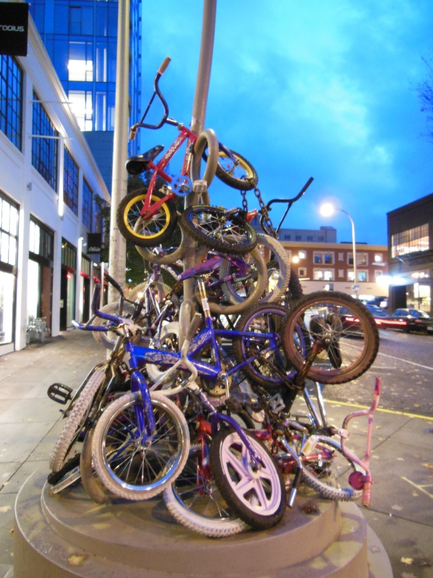 Hipster bicycle structure in town