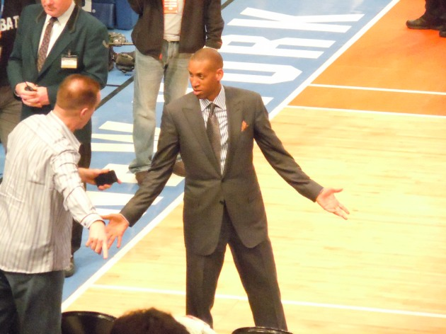 Reggie Miller and Chris Mullin, two Hall of Famers and former teammates laughing it up before the game.