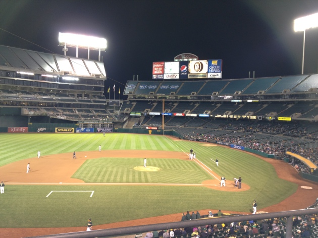 There were almost as many players on the field at this Oakland A's home game as there were people in the stands.
